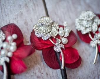 Silver Red Rose Brooch Boutonniere Groom Groomsmen Boutonniere, Brooch Button Hole, Black, Silver Wedding Accessory