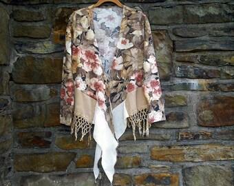 CLEARANCE!! Angora Blend Fringed Autumn Tunic ~ wrap / ponch  / shrug ~ gypsy / lagenlook / bohemian / hippie  art wear ~ by mia baggali