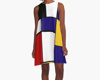 Mondrian Woman Dress, Dress for Woman, A Line Dress, Modern Dress, Girl Dress, Colorful Dress, Loose dress, Woman Dress, Gifts for her