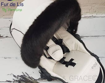 Fur de Lis Lapelle™, Luxury Faux Fur Pram Hood Trim For Bugaboo, Icandy, Stokke, Silver Cross and More. BLACK. Includes UK P&P.