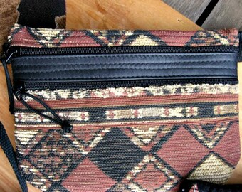 SALE: Waist Bag - Flat Fanny Pack - Big Diamonds Tapestry and Leather (medium) - Handmade in Oregon