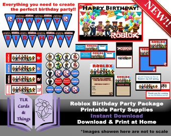 Roblox Party Printable Package - Roblox Birthday Decorating Package- Instant Digital Download Party Printables PDF