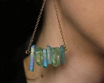 Iridescent Green Crystal Earrings