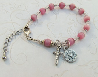 Girls First Communion Rosary Bracelet with Chalice medal. and Crucifix