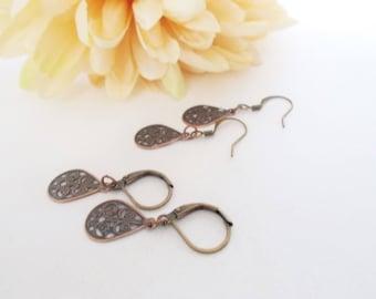 Copper Earrings Teardrop, Boho Earrings Bohemian Dangle Earrings, Birthday Gift for Girlfriend, Best Selling Jewelry Gift for Daughter