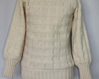 Vintage Hand Knit Fisherman's Turtleneck Wool Sweater Cyril Cullen Ireland