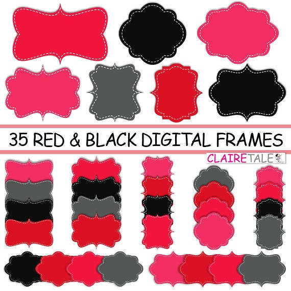 "Digital clipart labels: ""RED & BLACK FRAMES"" clipart frames, labels, tags for scrapbooking, cards, invitation, stationary, albums"