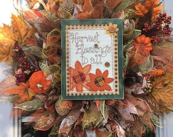 Fall Harvest Thanksgiving Deco Mesh Wreath