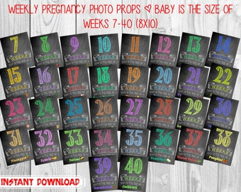 Printable Pregnancy Countdown Chalkboard Photo Props | Weekly Series | Weeks 7-40 | Instant Download | by MMasonDesigns