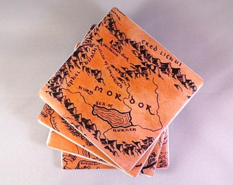 Middle Earth Map Tile Coasters. Hobbit / Lord of the Rings Inspired. Felt Backed, Set of Four, Finished with Twine Bow.