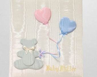 Baby Memory Book in Moire with Bear & Balloons