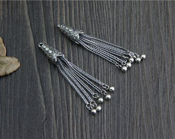 1 piece-Sterling Silver tassel charms,Sterling Silver Chain Tassel Pendant,Tassels for earrings for necklace,DIY Jewelry Findings Y0344