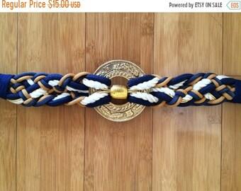 30% Off Sale 80s Navy Blue & Gold Braided Gold Medallion Belt, size M