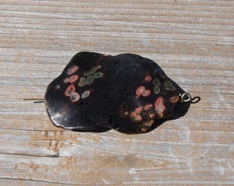 1 Twisted Dragons Blood Jasper Pendant Oval Tube Bead Gemstone 50mm