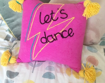Let's Dance David Bowie inspired cushion, lightening bolt, Aladdin Sane, hot pink, lyric, eclectic interior