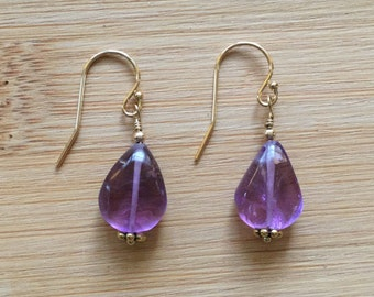 Lavender Amethyst Earrings, 14K Gold Filled Earrings, Amethyst Gold Earrings, Amethyst Jewelry, Teardrop Gemstone Earrings, Dangle Earrings