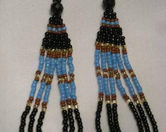 Loopy Seed Bead Earrings, Black/LtBlue/Brown