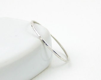 Extra Skinny Stacking Ring, Sterling Silver Ring, Thin Knuckle Ring, Hammered Ring, Sterling Silver Jewellery 925