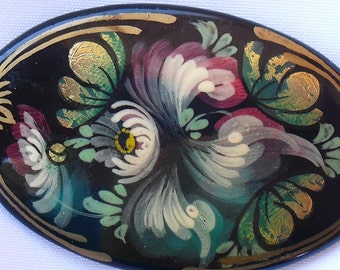 Hand Painted Russian Lacquer Brooch, Vintage Black and Gold Floral Pin
