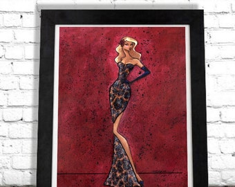 Old Hollywood Glamour Art Print, Elegant Woman, Colorful Wall Hanging, Fashion Illustration Glam Fashionista, Gift for Her, Boutique Artwork