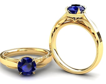 Sapphire Engagement Ring 1.50 Carat Blue Sapphire Solitaire Ring In 14k or 18k Yellow Gold SJW1BUY