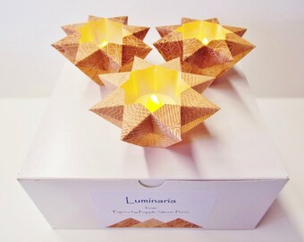 Set of Three Luminaria-Hand-painted, Origami-folded Paste Papers - 3 Chocolate Hues