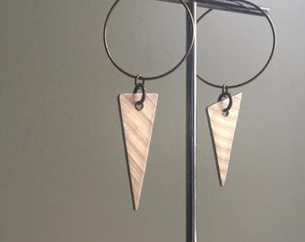 Recycled Drum Cymbal Asymmetrical Hoop and Triangle Earrings - Cymbals