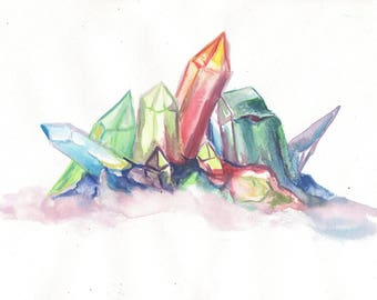 Rainbow crystal watercolor 5 x 7 or 8 x 10 CHOICE of PRINT magic mystic occult crystal art, purple pink pagan wiccan magickal nature geology