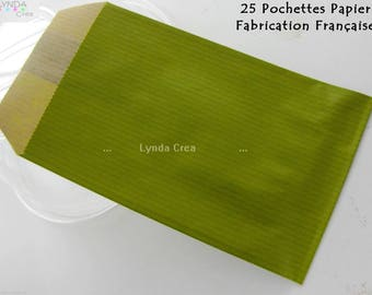 25 pockets gift paper Craft olive - 7X12cm #EMB11