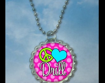 Set of 4 Peace Love Drill Team bottle cap necklace-- Plain or Glitter, drill gift, cheer gift, pom pom team drill team gift, drill team