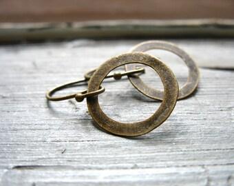 Brass Hoop Earrings, Handmade Artisan Metalwork Hoop Earrings Jewelry, Drop Earrings, Dangle Earrings, Hoop Earrings