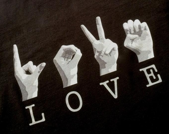 BLACK ASL Love Tee Shirt - American Sign Language - Cotton T shirt - LAT Apparel - Ladies Tees s, m, l, xl, xxl