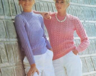 PDF two lady's jumper vintage knitting pattern pdf INSTANT download pattern only pdf