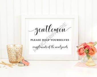 Gentleman Restroom Wedding  Printable Sign. Wedding sign.