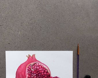 Pomegranate Original Food Illustration Watercolour Illustration