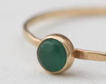 Genuine Emerald and 14k gold ring, emerald birthstone ring, emerald ring