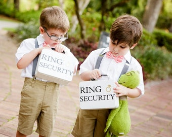 SET OF 2 White Ring Security Boxes - Complete with Coloring Books with Crayons - Ring Bearer Alternative