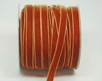 Velvet Woven Ribbon Trim -- 3/8 inches -- Rust Orange