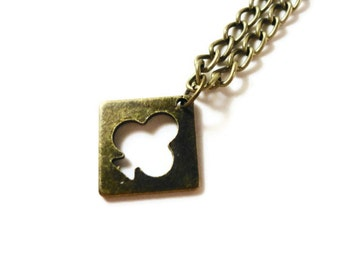 Bronze Club Necklace, Poker Necklace, Charm Necklace, Pendant Necklace, Casino Jewelry, Metal Chain, Teen and Women's Jewelry, Gift for Her