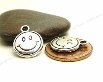 Bulk 30 Smiley Face Charms ( Double Sided ) Antique Silver Tone Metal - 16x13mm - BP17