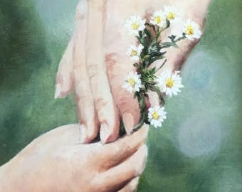 "Fine art 8X10 print of my original oil painting on canvas board ""A Precious Gift"""