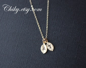 TWO  initial leaf necklace in Gold , personalize jewelry, simple dainty leaf charm necklace, customized letter , mothers necklace