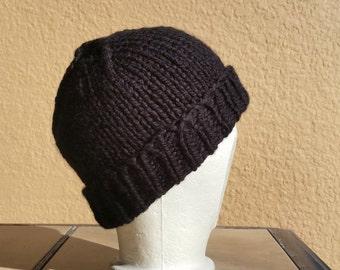 Acrylic Stocking Cap, Watchcap, Longshoremans Hat, Black Mens Hand Knit