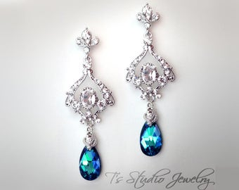 Peacock Blue Chandelier Earrings - perfect for bridal or bridesmaid