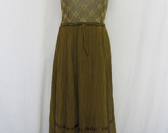 Cotton Gauze Dress Crochet Dress Hippie Dress Boho Dress Small