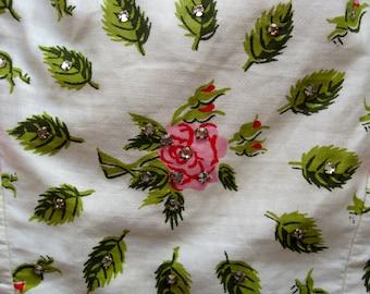 HOLD FOR TAMMARA****1950's rose print with rhinestones Jr. Flair dress by Sportlane
