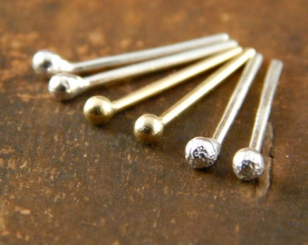 Teeny tiny studs, SET of gold & silver earrings, 14k yellow gold studs and 2 pair sterling silver balled studs, ~1.5 mm ball, post earrings.
