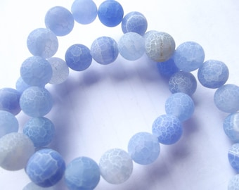 agate frosted Blue 10 mm ZUI 116 38 beads