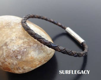 Mens Leather Bracelet, Mens braided Leather bracelet, leather bracelet for men, Braided Leather Bracelet Stainless Steel Bayonet Snap Clasp