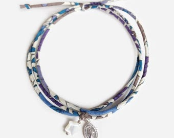 Liberty bracelet with mini silver miraculous medal